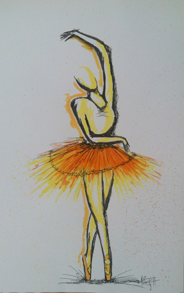 point to dance....   #watercolor  #ink  #drawing  #ballet #ballerina