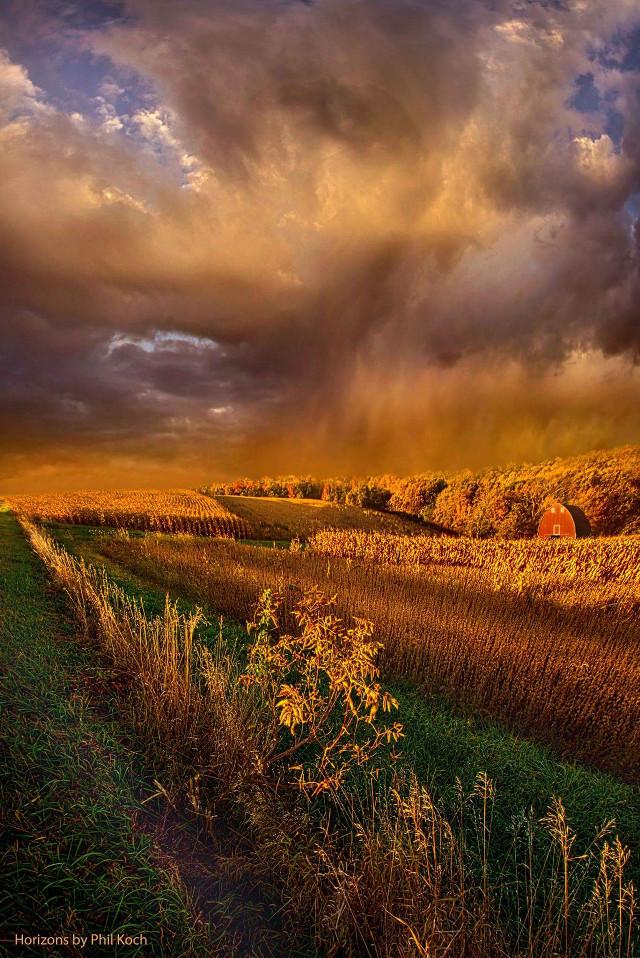 """I'm Living Today"" - Horizons by Phil Koch.  # warm #landscape #sky #hike #sunrise #beautiful #Nature #peace #love #orange #farming #autumn #fall #light #clouds"