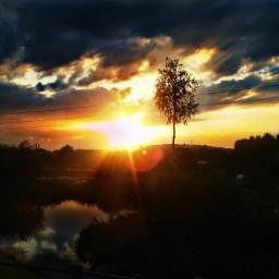landscape sunset tree village