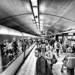 metro underground people stockholm blackandwhite