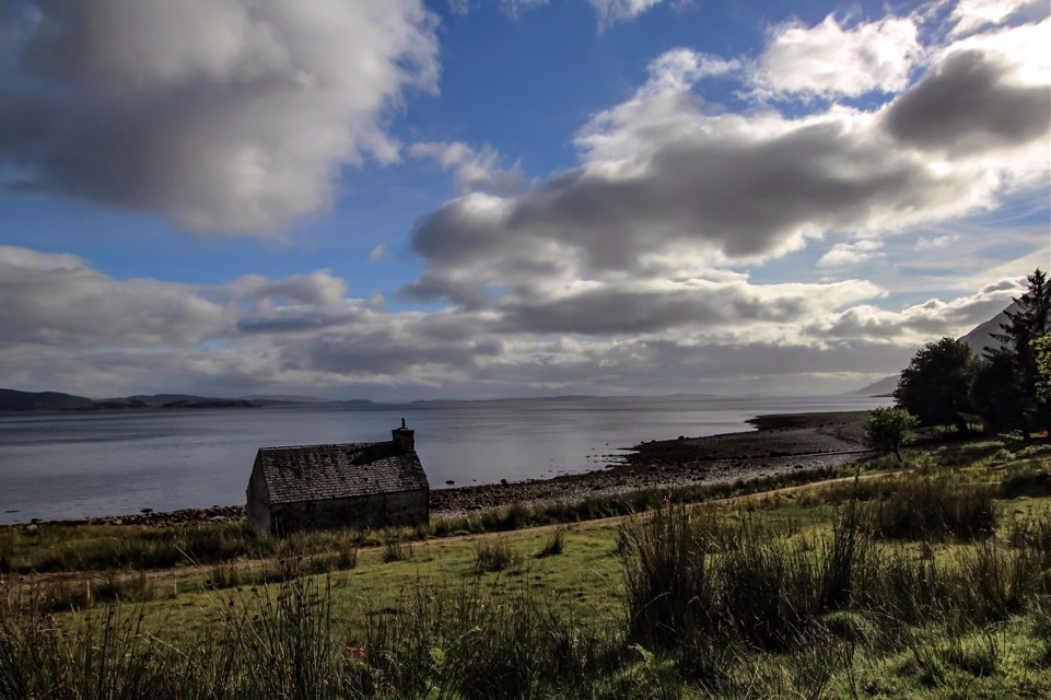 Solitude is often quality time... #house #shore #mountains #scotland #nature #allalone