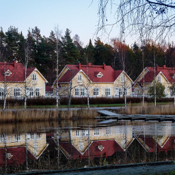 houses buildings reflection water
