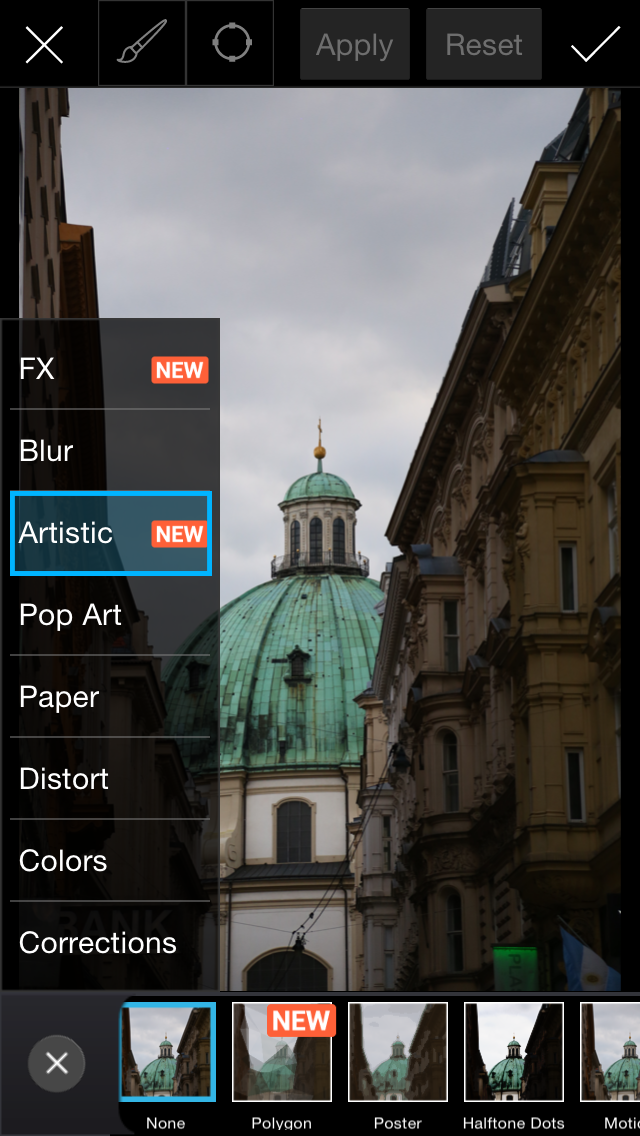 Artistic effects menu