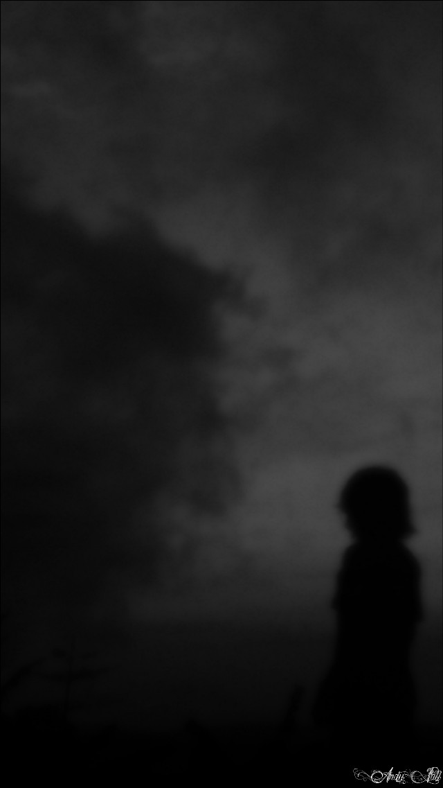 Grey clouds moving slowly, Silently the wind whistling, Shadows stand in weak, All seems blury.,.   #blackandwhite #silhouette