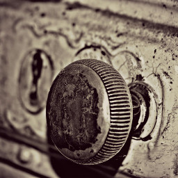 closeup old doorhandle lock vintage