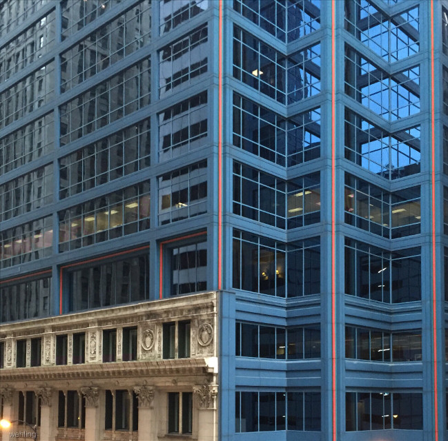 @jampost820 #ipictureyou #blueandorange #architecture      Happy thanksgiving dear. I am super thankful for you.  I know you are a lover of all architecture old and new like me. Here is one of my fav pics from Chicago. Old and New. Blue splash of Orange. Hope you enjoy. ❤️ Cheers Carol