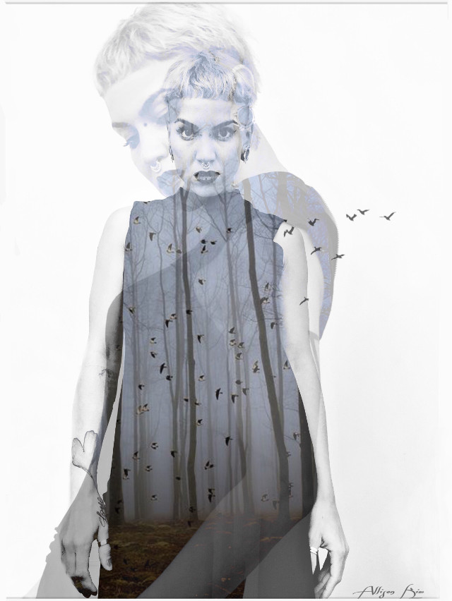 #blue #body #fly #light #bird #birds #outofmind #remember #wald #art #forest #doublexposure #shapemask #shadow #picsart #piercing #plugs #black #face #dress #dream #freetoedit