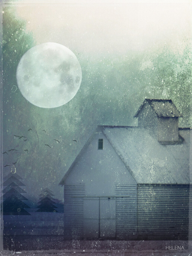 Rustic #cold #seasons #winter #snow #moon #farm #countryside
