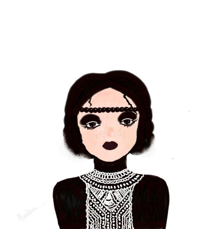 #drawing #girl #black #donewithpicsart #portrait