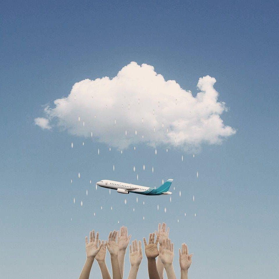 Hello goodbye. #surreal #minimal  #freetoedit #photography #cloud #plane