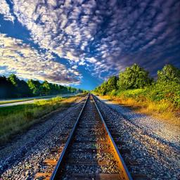 nobody traintracks travel sunrise leadinglines