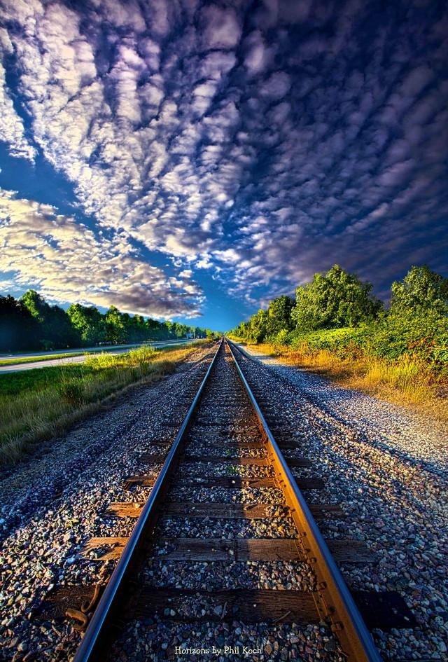 Horizons by Phil Koch.  #Nobody #traintracks #travel #sunrise #LeadingLines #peace #photography #hdr #seasons #VanishingPoint