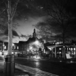 blackandwhite town townhall market rainyday