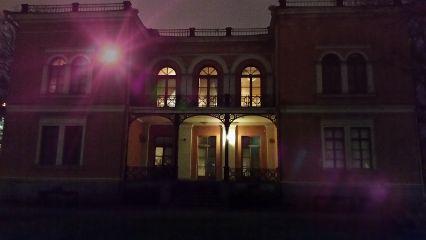 helsinki architecture night dark pink