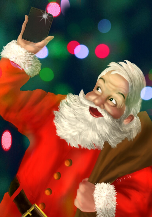 """""""Merry Christmas """" to all 💕😊🎅🎄  Took a while to finish this drawing. Yes Santa need a little more practice. ;))  For daily inspiration #christmas Good Night. God Bless #digitaldrawing #drawing #santa #colorful #festival #lights #bokeh #people #blessings #celebration #december #bokeh #selfie #gifts"""