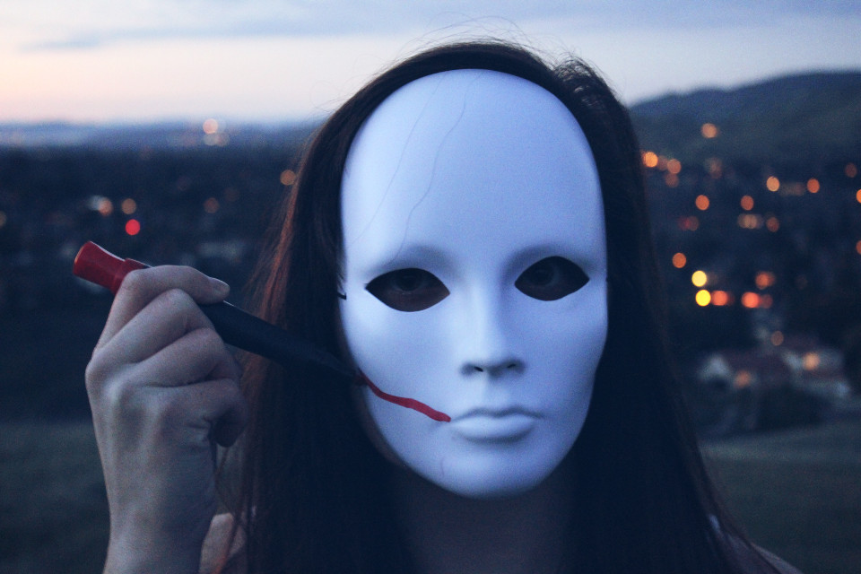 """She was slowly """"beautifying"""" her other self #mask #hiding #lines #color #pattern #elements #blue"""