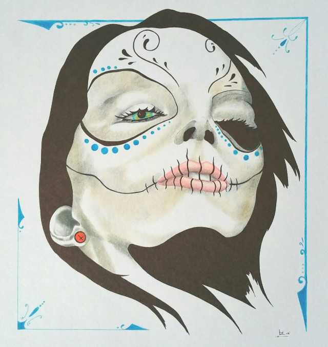 #dayofthedead #colorpencil  #artwork from my brother.  #prisonart  #candyskull  #border #facepaint #darkhair #cool #awesome #pencilart   #shading #technique  #skills
