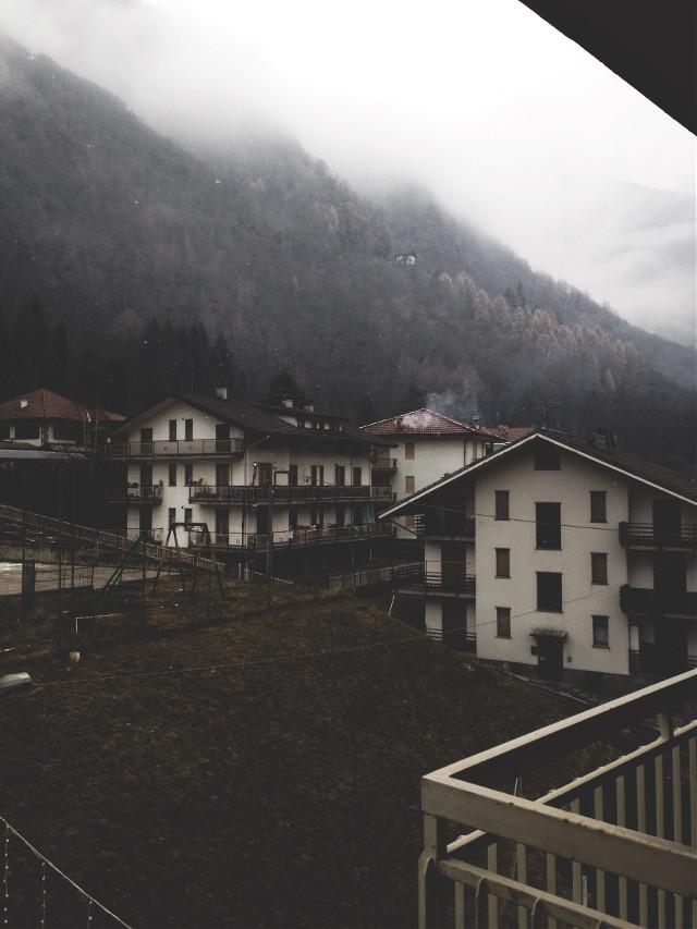 #mountains #fog #foggymorning #grey #houses #beautiful #italy