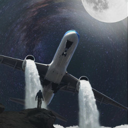 freetoedit night surrealism plane mountain moon effect nature lowcontrast waterfall fteputaplaneonit
