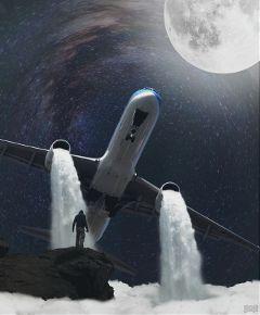 freetoedit night surrealism plane mountain