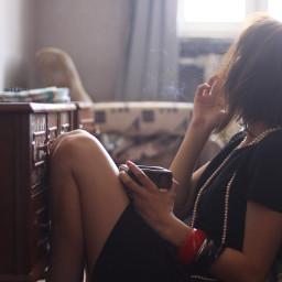 freetoedit smoking girl sad backlight