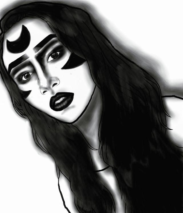 We're doing a makeup, she as a black goddess. And I try to draws her #wdpwomenportaits  #draws #blackandwhite