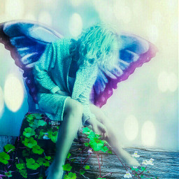 fairytale fantasy butterfly bokeh doubleexposure