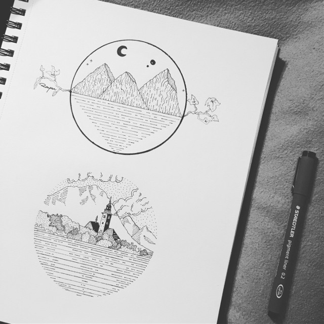 My Work . Inspired By: Sanpo_lou & Liffeydoodle (Instagram artists) #ink #doodle