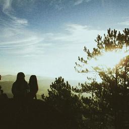 sunrise hike landscape adventure sky