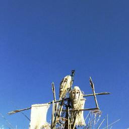 scarecrows blue sky