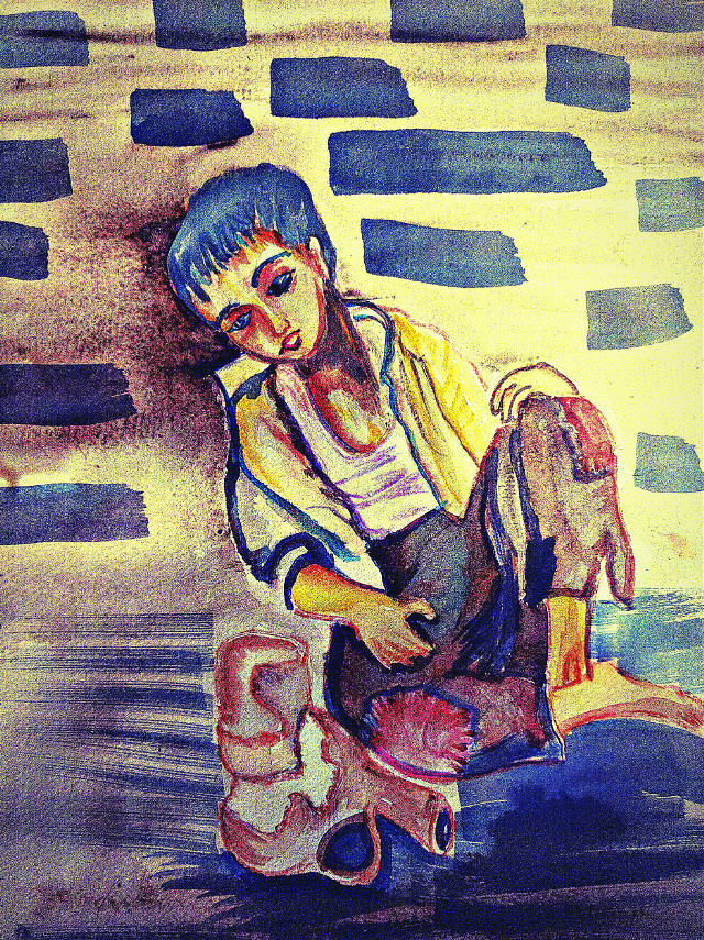 #Poverty # #copy work #watercolor #painting ##lonelyness #behind  #hdr #picsart