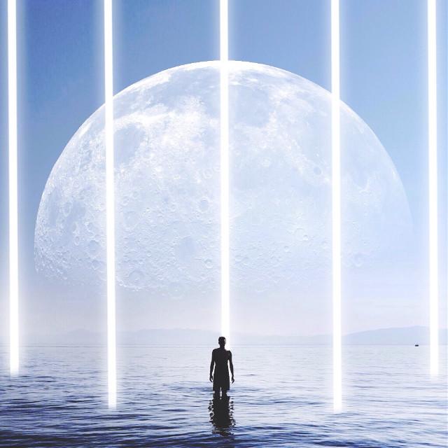 Landed in the middle of somewhere.   (Original Photo: elliepritts via hippoapp)  #blue #moon #minimal #minimalism #surreal #surrealism #lights #beam #water #ocean
