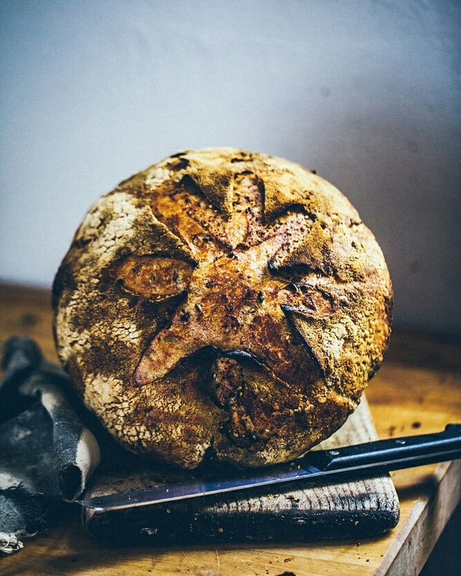 Bread with za'atar, sumac and cooked freekeh