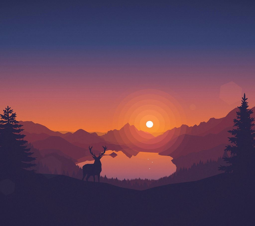 Forest At Dusk Wallpaper: Drawing Summer Nature Sunset Forest Animals Landscape