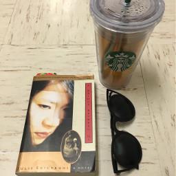 book tea sunglasses bookworm starbucks
