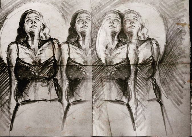 art artisticselfie drawing charcoal paper