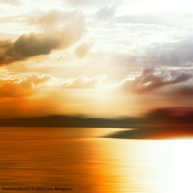 Everything can be interpreted the way you want.  Original picture by @wastedtree    #colorful #emotions #nature #edited #dreamscape #clouds #sun #light #myedit #landscape #minimal #minimalism #sea #ocean #orange