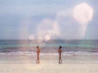 lensflare mirroreffect beach sand sea