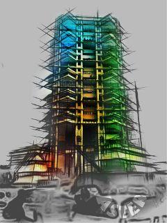 pencilart bokeh urban architecture jakarta
