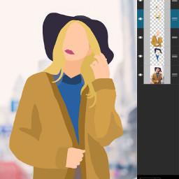 vector drawing girl woman blonde
