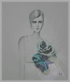 drawing collage minimal woman flowers freetoedit