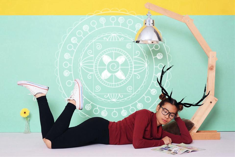 #FreeToEdit Serentity 🌕 #interesting #antlers #mintgreen #artistic #girl #photography #edit #friday