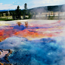 colorful yellowstone canon field geyser steam nature photography